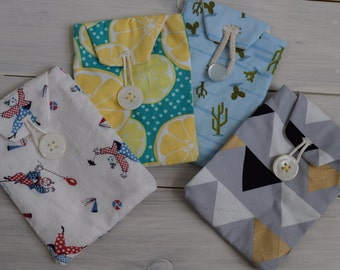 Cute handmade phone case pouch in cactus/ clowns/ lemons/ triangles - fully lined button pouch case for iPhone 5 & 6, android, Samsung