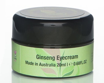Ginseng Organic Eye Cream 20ml Organic Skincare,Accredited Cruelty Free,Vegan,Natural,Chemical Free,Bath & Beauty,Puffy Eyes,Dark Circles