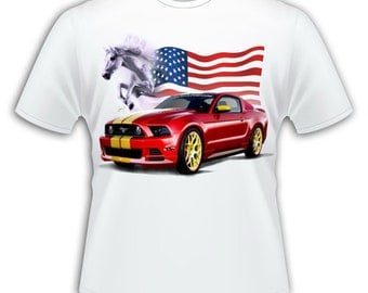 White T-shirt - man - red Mustang pattern