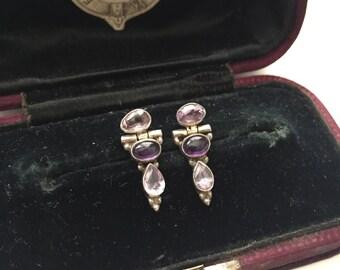 Vintage Sterling Silver Amethyst Triple Stone Stud Earring