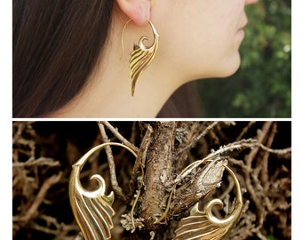 Wing earrings (brass and silver plated)