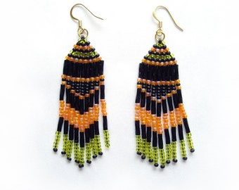 Beaded earrings Long fringe earrings Black orange green earrings Seed bead earrings Ethnic earrings Chandelier earrings Bright boho earring