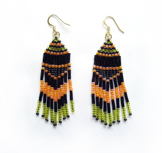 Beaded earrings Long fringe earrings Black orange green