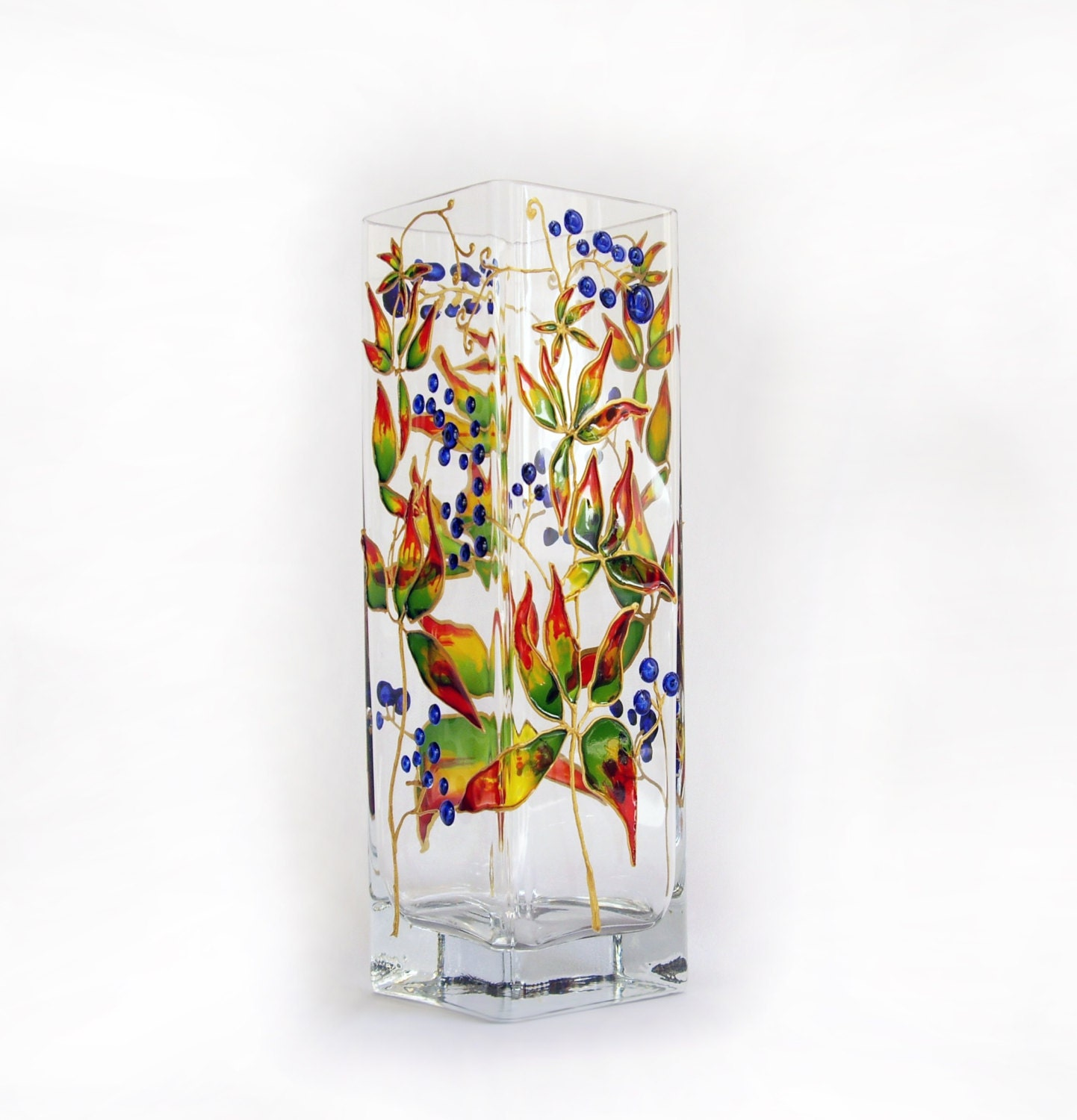 Painted Glass Vase Colorful vases Small glass vases Art glass