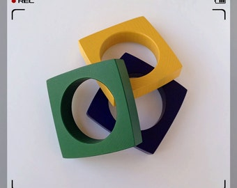 Geometric Square Bangles - Yellow, Green and Blue