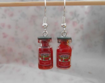 Strawberry Jam miniature jar charm earrings