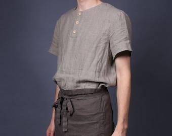 Linen apron, Cafe apron, Midi apron, Linen half apron, Washed tea linen apron