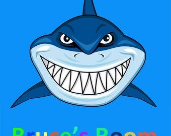 Kids Personalised Shark Door Sign