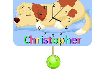 Dog Childrens Personalised Wooden Pendulum Clock  (free UK delivery)