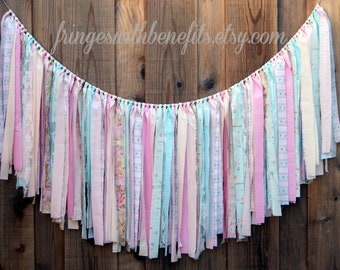 Blue & Pink Brambleberry Shabby Chic RAG TIE GARLAND, Fabric Banner, High Chair Banner, Baby Shower, Nursery, Boho, Brambleberry