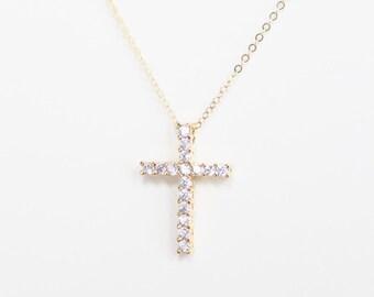 Gold Cross necklace/Cross CZ necklace/Cross necklace/silver cross,gold cross,Cubic necklace/everyday jewelry/Dainty necklace/friendship