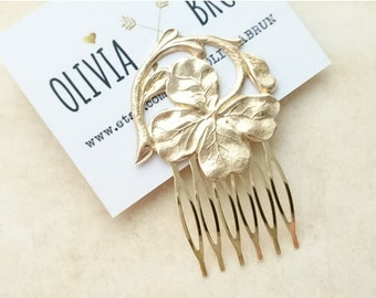 Gold Shamrock Hair Comb Four Leaf Clover Hair Comb Shamrock Hair Clip Wedding Hair Piece Bridal Hair Accessories Irish Wedding Irish Jewelry