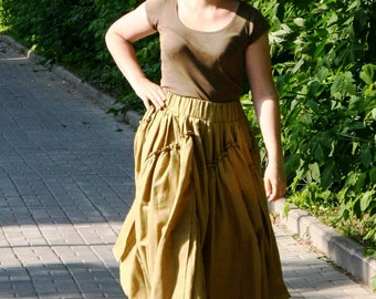 Maxi skirt. Pleated Skirt. Boho skirt.Khaki color.Organic clothing. Многослойная юбка в пол.