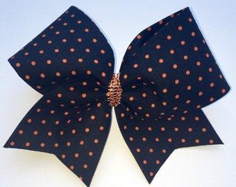 Micro Dot Orange and Black Cheer Bow
