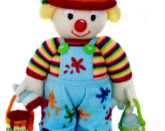 Handmade doll clown Soft doll Amigurumi doll Knitting soft doll Knitted toy Clown painter Hand knitted doll  Bright blue red 22 inch (56cm)