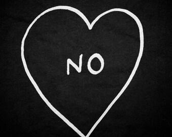 NO heart screen print t shirt