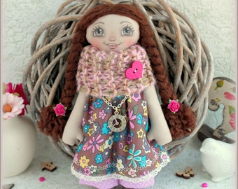 fabric soft doll rag doll cloth doll stuffed doll мягкая тряпичная кукла  art doll  текстильная кукла handmade doll ooak