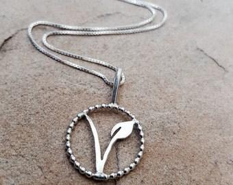 """Vegan Necklace. Sterling Silver V Necklace. Framed """"V"""" Silver Necklace. Vegan and Vegetarian V. Vegan Friendly Necklace.  Vegan Jewelry."""