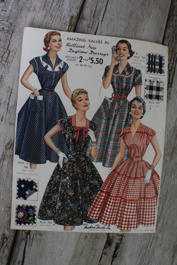 Fashion Frocks, Style Card, 1950s ,Mad Men , retro clothing, vintage clothes, dressmaker, seamstress gift, lookbook, cincinnati ohio,
