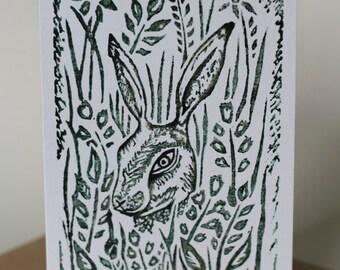 Hare Lino Cut Print Greeting card