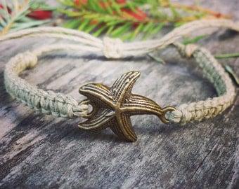 Hemp Starfish Bracelet - Bronze Beachy Bracelet