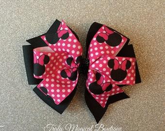 Minnie Mouse Bow | Minnie Mouse Hair Bow | Minnie Mouse Inspired Hair Bow | Pink Minnie Mouse Bow | Disney Bows | Disney Hair Bows