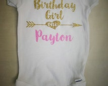 Personalized Glitter Birthday Girl / First Birthday Onesie