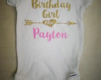 Personalized Glitter Birthday Girl / First Birthday Onesie