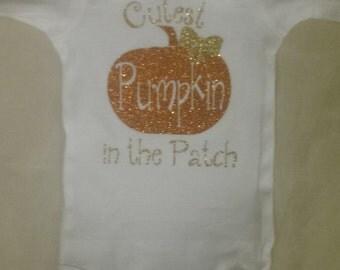 Glitter Cutest Pumpkin in the Patch Girl's Halloween Onesie
