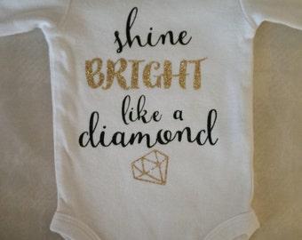 Shine Bright Like a Diamond Glitter Onesie