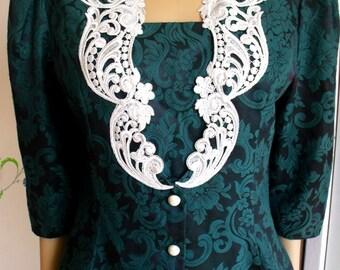 80's Jessica McClintock Dress Suit/Green Embossed Brocade/Floral Design/White Applique/Ecru Lace/Size 10/Vintage Dress/1980's