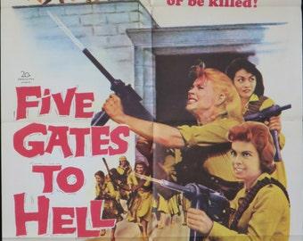 Five Gates To Hell ~ Original U.S. 1 Sheet ~ Rare Vintage 1959 'B' Picture Movie Poster ~ Angry Gun Totin' Women!