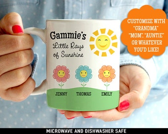 Coffee Mug Grandma's Little Rays of Sunshine - Customized Coffee Cup - Personalized with Kids Names - Customized Mommy Mug
