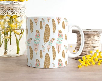 Coffee Southwest Design Coffee Cup - Feathers Coffee Cup - Great Housewarming Gift