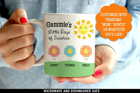 Coffee Mug Grandma's Little Rays of Sunshine - Customized Coffee Cup - Personalized with Kids Names - Customized Mommy Mug