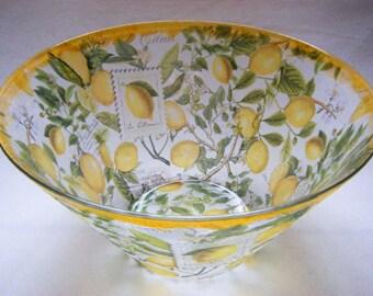 Large Glass Original Fruit Bowl with Lemon Design