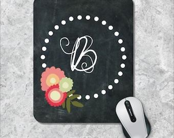 Monogram Mouse Pad, Initial Mouse Pad, Watercolor Mouse Mat, Chalkboard Mouse Pad, Floral Mousepad, Custom Mousepad, Polka Dot Mousepad