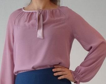 bow blouse, top, chiffon top, satin trim,dirty pink,