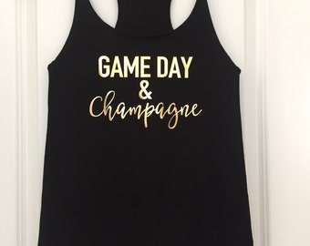 Bridesmaid Game Day & Champagne Racerback Tank Tops // Bachelorette Party Tank Tops, Bachelorette Party, Bachelorette Party Shirts / 6001