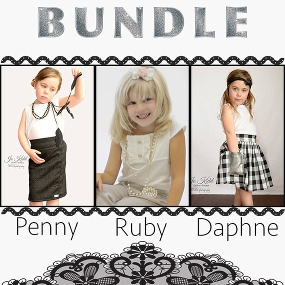 BUNDLE: 3 pack Penny, Ruby & Daphne. PDF sewing pattern for toddler girl sizes 2t - 12.