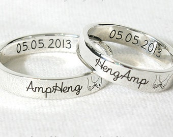 4 mm COUPLE RINGS, PERSONALIZED Silver Ring ,Custom Engraved ring,Sterling Silver, Promise rings,customized ring,Custom band ring,name ring