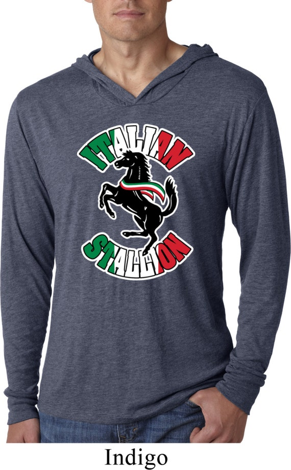italian stallion mens lightweight hoodie tee t shirt stallion nl6021. Black Bedroom Furniture Sets. Home Design Ideas