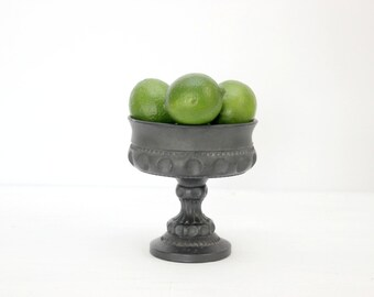 Black Thumbprint Glass Pedestal Dish