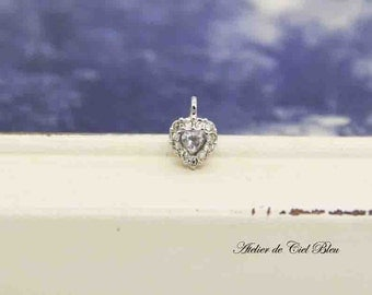 Heart Charm, Tiny Heart Charm, Silver Heart Charm, Tiny Cubic Zirconia Heart Charm, Tiny Swarovski Heart Charm, Heart Pendant, Heart Jewelry