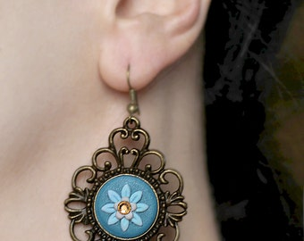 Long earrings Boho earrings Blue dangles Boho chic earrings Dangle earrings Statement jewelry Bohemian earrings Dangle and drop Blue earring