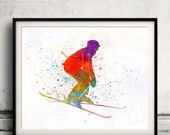 Woman skier skiing jumping 02 in watercolor - poster watercolor wall art splatter sport illustration print Glicée artistic - SKU 2149