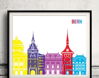 Bern pop art skyline 8x10 in. to 12x16 in. Fine Art Print Glicee Poster Gift Illustration Pop Art Colorful Landmarks - SKU 0695