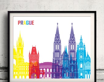 Prague pop art skyline 8x10 in. to 12x16 in. Fine Art Print Glicee Poster Gift Illustration Pop Art Colorful Landmarks - SKU 0699