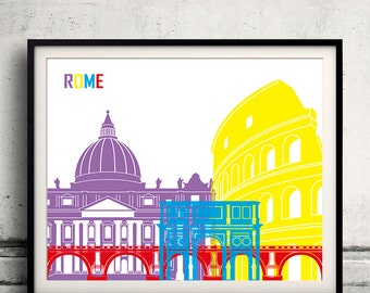 Rome pop art skyline 8x10 in. to 12x16 in. Fine Art Print Glicee Poster Gift Illustration Pop Art Colorful Landmarks - SKU 0700