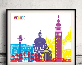 Venice pop art skyline 8x10 in. to 12x16 in. Fine Art Print Glicee Poster Gift Illustration Pop Art Colorful Landmarks - SKU 0702